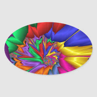 Bright Color Spiral Oval Sticker