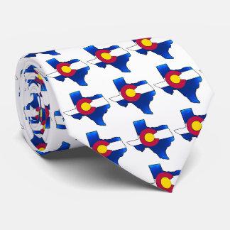 Bright Colorado flag Texas outline necktie