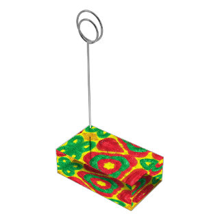 Bright colored abstract pattern place card holder