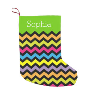 Bright Colored & Black Zigzags Personalized Small Christmas Stocking