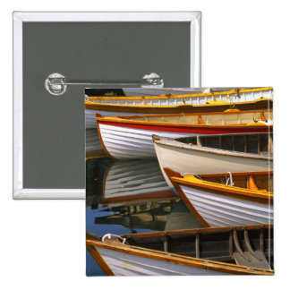 Bright colored boats at the Wooden Boat Center 15 Cm Square Badge