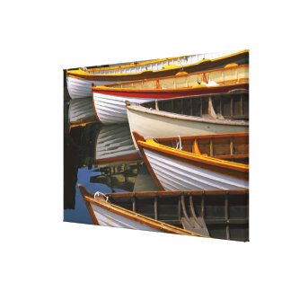 Bright colored boats at the Wooden Boat Center Stretched Canvas Prints