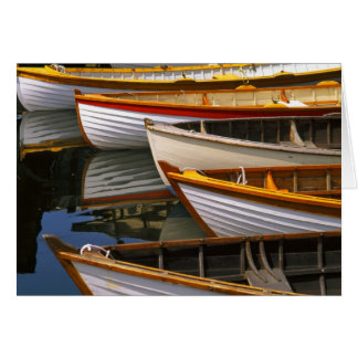 Bright colored boats at the Wooden Boat Center Card