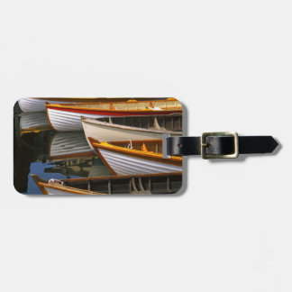 Bright colored boats at the Wooden Boat Center Luggage Tag