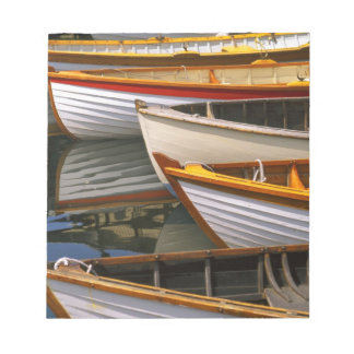 Bright colored boats at the Wooden Boat Center Notepad