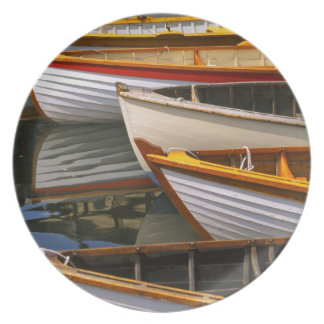 Bright colored boats at the Wooden Boat Center Plate