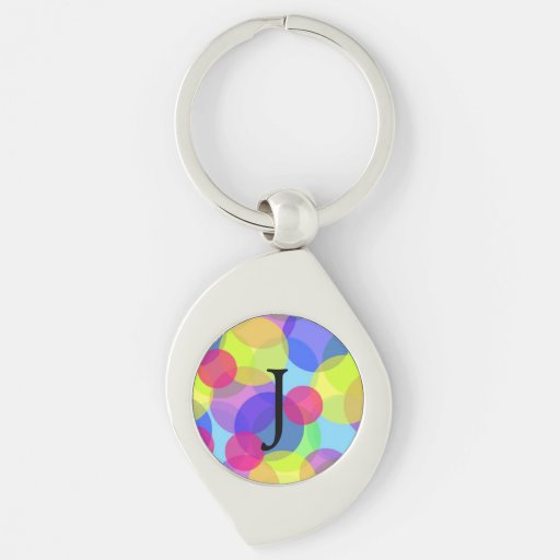 Bright colored circles in A swirl shaped keychain