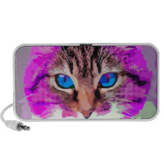 Bright Colored Domestic Cat Face Portrait Notebook Speakers