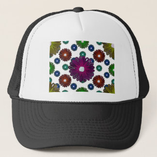 bright colored retro inspired flowers trucker hat
