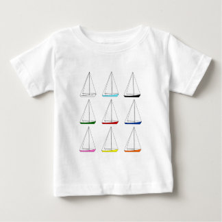 Bright Colored Sailboats Baby T-Shirt