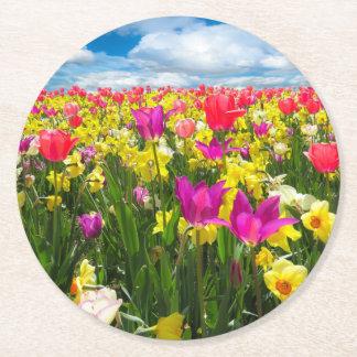 Bright Colored Tulip Coaster Round Paper Coaster