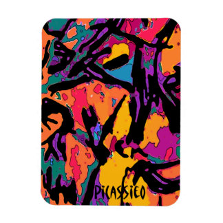 Bright Colorful Abstract Art Magnet black accents