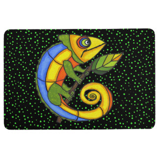Bright Colorful Abstract Lizard Leaf Green Dots Floor Mat