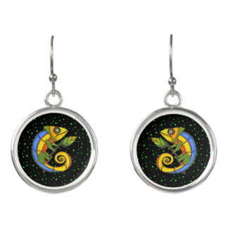 Bright Colorful Abstract Lizards on Branch Dots Earrings