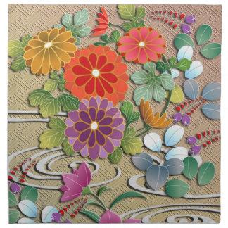 Bright colorful autumn flowers napkin