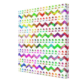 Bright Colorful Birds and Chevron Pattern. Stretched Canvas Prints