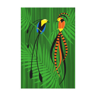 Bright Colorful Birds of Paradise Stretched Canvas Print