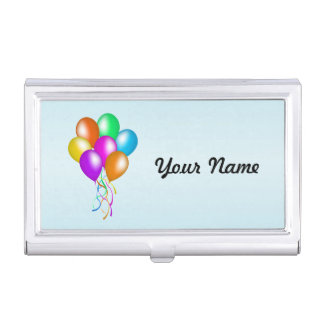 Bright Colorful Bunch of Balloons Streamers Business Card Holder