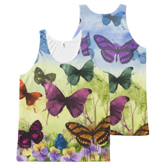 Bright Colorful Butterflies Watercolor All-Over Print Tank Top