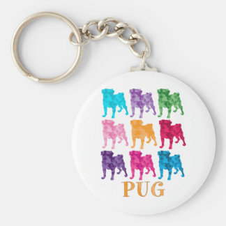 Bright Colorful Camouflage Pugs Basic Round Button Key Ring