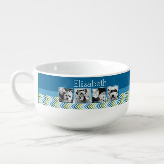 Bright Colorful Chevrons Instagram Photo Collage Soup Mug