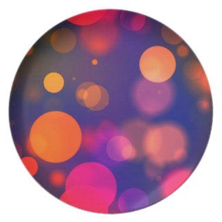 Bright Colorful Circle Bokeh Blur Lights Pattern Plate