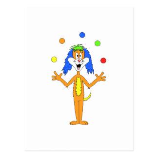 Bright colorful Clown Dog Cartoon Postcard