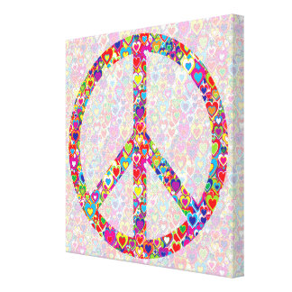 Bright Colorful Cool Heart-Filled Peace Symbol. Canvas Print