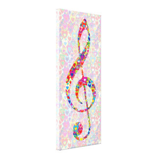Bright Colorful Cool Heart-Filled Treble Clef. Canvas Print
