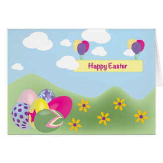 Bright Colorful Decorated Eggs Easter Card