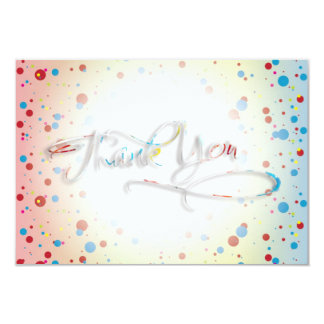 "Bright Colorful Dots Glowing Center Thank You Card 3.5"" X 5"" Invitation Card"