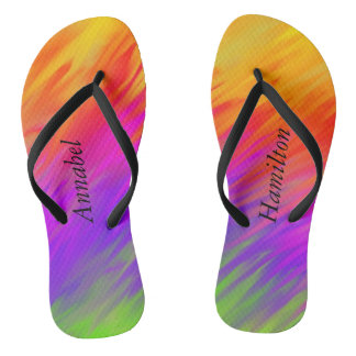 Bright Colorful Flip Flops w/ your Name