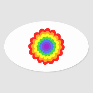 Bright colorful flower in rainbow colors. oval sticker