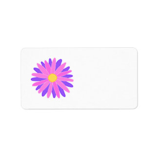 Bright Colorful Flower. Pink and Purple. Label