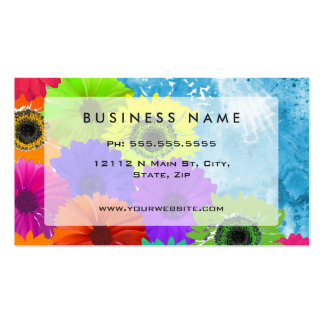 Bright Colorful Flowers on Blue Watercolor Pack Of Standard Business Cards