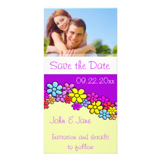 """Bright Colorful Flowers/photo  """"Save the Date"""" Custom Photo Card"""