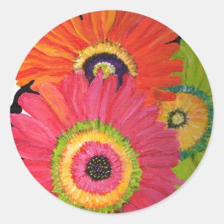 Bright & Colorful Gerbera Daisies Classic Round Sticker