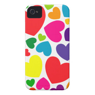 Bright Colorful Girly Hearts iPhone 4 Case-Mate Case