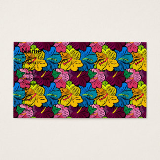 Bright Colorful Hibiscus Flowers Business Card