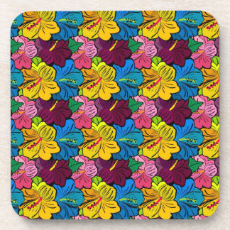 Bright Colorful Hibiscus Flowers Coasters