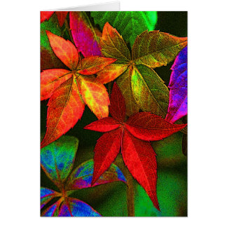 Bright colorful leaves card