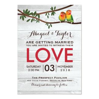Bright Colorful Lovebirds Wedding Invitation