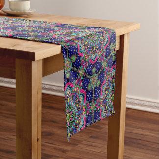 Bright colorful mandala pattern on dark blue