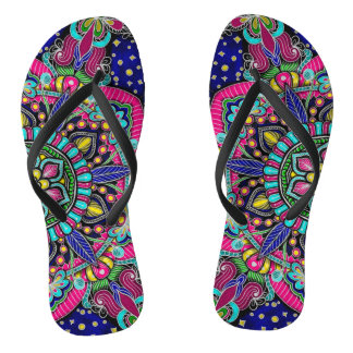Bright colorful mandala pattern on dark blue flip flops