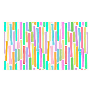 Bright colorful mini stripes fun pattern painting business card