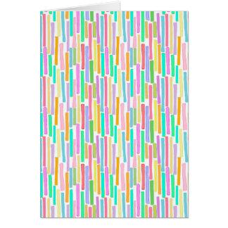 Bright colorful mini stripes fun pattern painting greeting card