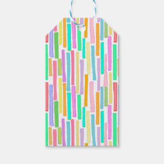 Bright colorful mini stripes fun pattern painting pack of gift tags