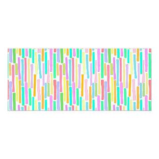 Bright colorful mini stripes fun pattern painting 4x9.25 paper invitation card