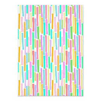 Bright colorful mini stripes fun pattern painting 5x7 paper invitation card