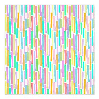 Bright colorful mini stripes fun pattern painting 5.25x5.25 square paper invitation card